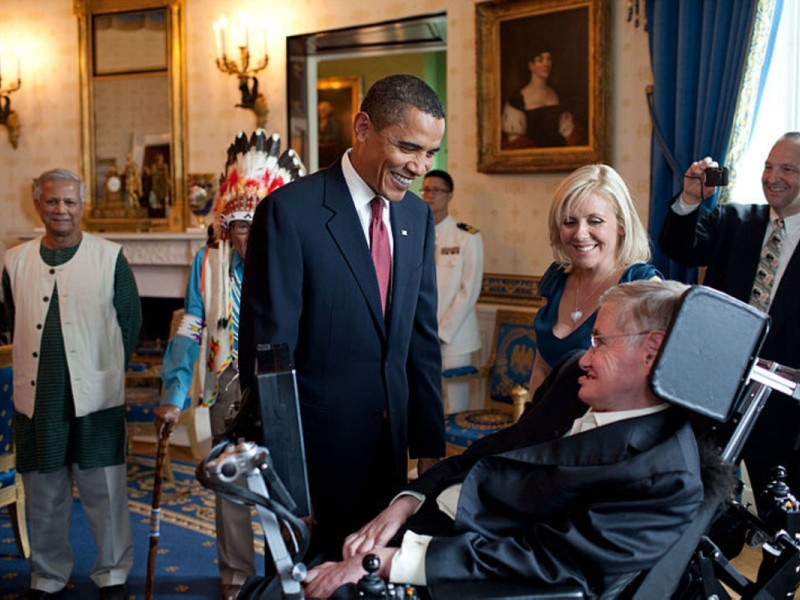 Barack Obama speaks to Stephen Hawking