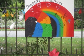 Diversity is Beauty poster at Christchurch mosque shooting memorial Thursday 21 March 2019