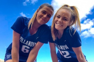 Harriette on the right with a Lacrosse team member from Villanova University