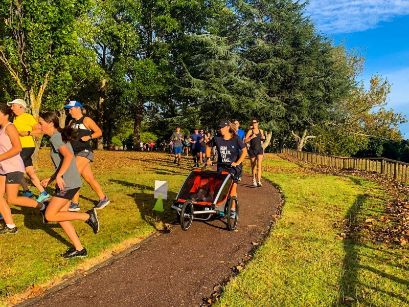Sian pushing her girls in an estimated 45kg buggy for the Auckland Park Run